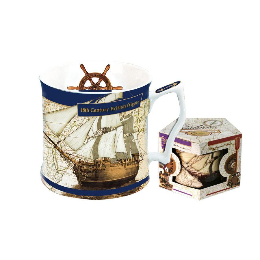 Кружка 0,45 л Английский фрегат 18 векаОбъемная мужская кружка сочетает в себе лаконичность белого костяного китайского фарфора и точнейшее изображение английского фрегата 18 века. Можно долго рассматривать паруса и снасти великолепного британского судна, наслаждаясь любимым напитком: у кружки удобная изогнутая ручка. Изделие упаковано в шестигранную подарочную коробку и станет идеальным подарком для солидного мужчины, ценящего качественные и неординарные вещи. Можно использовать в посудомоечной машине и СВЧ-печи.<br>