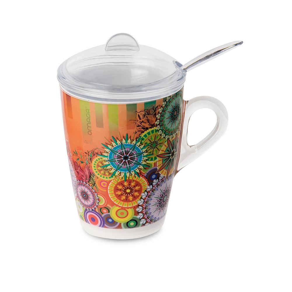 Кружка для заваривания чая с крышкой, ложкой и фильтром 0,3 л Plexart Mixart