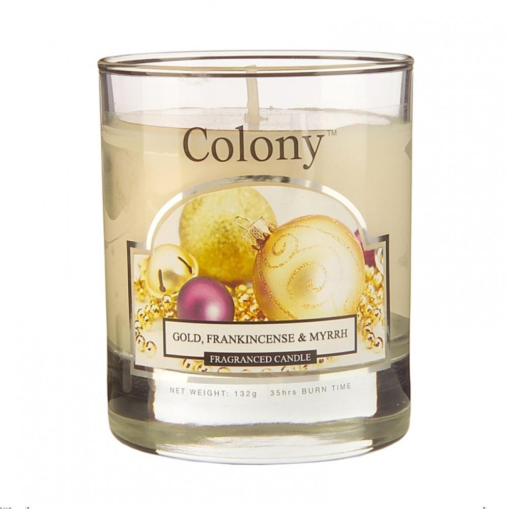 Свеча ароматическая в стеклянной банке Новогодняя карамель малаяАроматическая свеча имеет в составе смесь ароматов ванили, мирры, ладана, сливочной помадки и цветущего жасмина. Свеча помещена в стеклянный стакан, который не нагревается и ее можно использовать на любой поверхности.<br>
