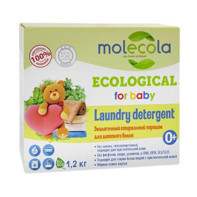 Экологичный стиральный порошок для белого белья и цветного детского белья Molecola 1,2 кг фото