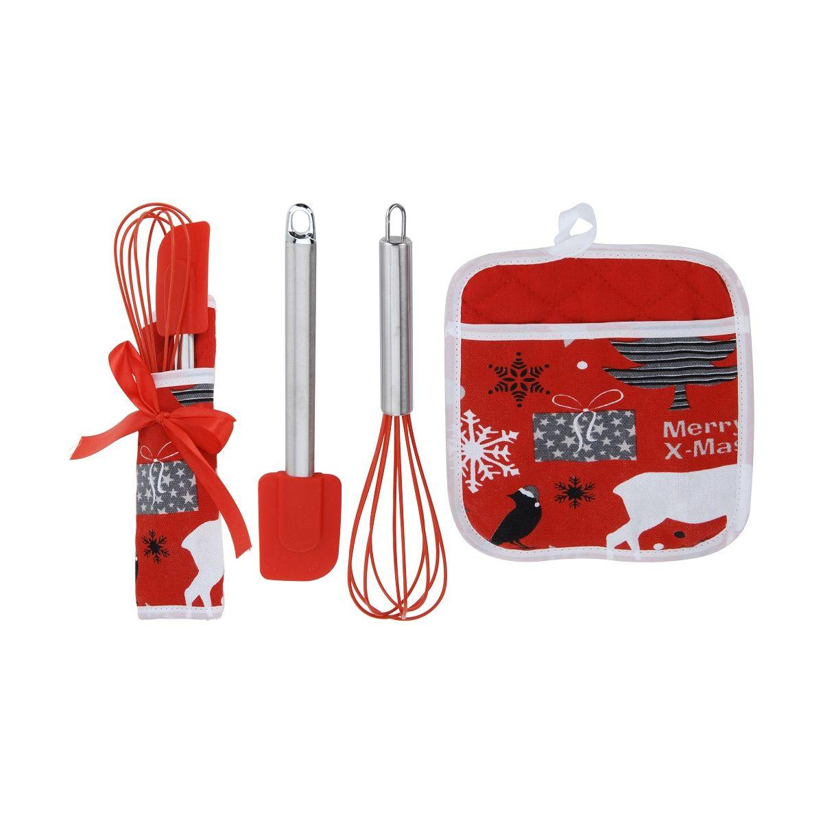 Набор кухонный: прихватка, венчик, лопаткакухонный набор: прихватка, венчик и лопатка<br>