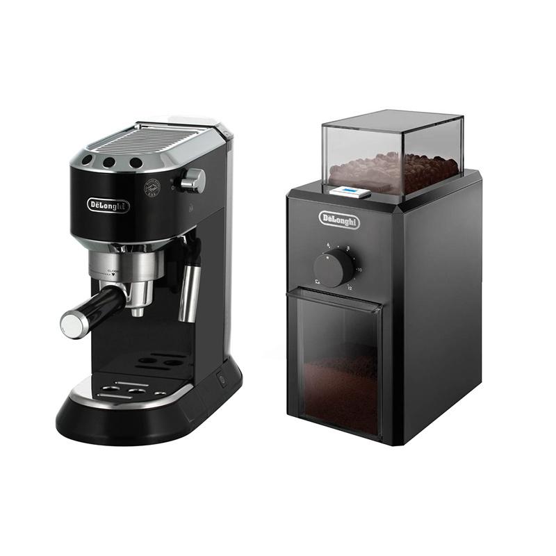 Набор Delonghi Кофеварка и кофемолка черныеНабор Делонги кофеварка и кофемолка - набор, который станет настоящим подарком для ценителей ароматного напитка. Устройства выполнены в едином стил, хромированные детали, эргономичный корпус. Кофемолка зернового типа обеспечивает мелкий помол кофе с помощью трения жернов. Она обеспечивает идеальный помол и сохраняет аромат. Надежная конструкция отличается прочностью и прослужит владельцу не один год. Кофеварка рожкового типа Система автоматического выключения поможет сократить расход электроэнергии, а функция поддержания тепла сохранит кофе горячим в течение получаса.<br>