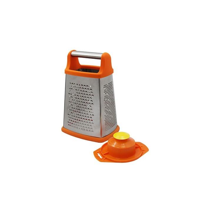 Набор: Тёрка металлическая 4-гранная большая + плододержательПрекрасная четырехгранная терка от Borner позволяет измельчить продукты по-разному: от консистенции кашицы до стружки. Также в комплекте идет плододержатель, который поможет вам удерживать измельчаемый продукт и не порезать руки.<br>