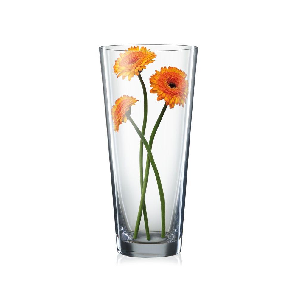 ВазаСтильная ваза «Кристелекс» из стекла высокого качества станет хорошим украшением интерьера как сама по себе, так и с букетом цветов. Вытянутая форма классического слегка расширенного к верху стакана, простота, изящество и практичность модели порадуют владельцев. Знаменитое богемское стекло способно служить долгие годы, не теряя первозданного блеска и кристальной прозрачности. При необходимости вазу можно очищать как вручную, так и в машине для мытья посуды.<br>