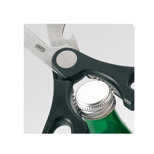 Ножницы хозяйственные металлическиеНожницы хозяйственные универсальные предназначены не только для разреза, но и для открытия винтовых колпачков и крышек. Пластмассовая ручка эргономично лежит в руке.<br>