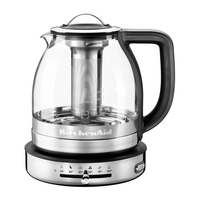 Электрочайник стеклянный 1,5 л.Электрочайник имеет единую конструкцию из стекла и стали с плавными контурами, идеальную для приготовления душистого чая без потери вкусовых качеств. Объём - 1,5л. Температурные режимы - 5 установок.<br>