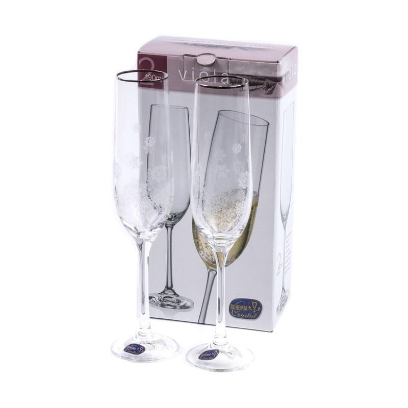 Набор бокалов для шампанского 2 шт 190 мл Viola