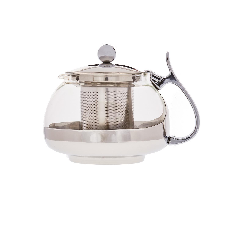 Чайник заварочный стеклянный с фильтром Кан 700млЗаварочный чайник Кан станет вам надежным другом в любом чаепитии. Объема 700 мл хватит на то, чтобы приготовить ароматный напиток для большой семьи или компании друзей, а фильтр не даст попасть в кружки ни одной чаинке.Чайник изготовлен из надежных и практичных материалов – стекла, пластика и стали. Все поверхности модели легко отмываются и не требуют особого ухода. Железная ручка широкая, с удобным упором для большого пальца. Ситечко, также изготовленное из металла, не гнется и не ржавеет и сможет радовать своего обладателя крепким ароматным чаем долгое время.<br>
