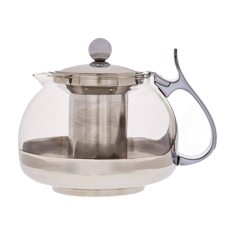 Чайник заварочный стеклянный с фильтром Кан 1200млЗаварочный чайник Кан станет вам надежным другом в любом чаепитии. Объема 700 мл хватит на то, чтобы приготовить ароматный напиток для большой семьи или компании друзей, а фильтр не даст попасть в кружки ни одной чаинке.Чайник изготовлен из надежных и практичных материалов – стекла, пластика и стали. Все поверхности модели легко отмываются и не требуют особого ухода. Железная ручка широкая, с удобным упором для большого пальца. Ситечко, также изготовленное из металла, не гнется и не ржавеет и сможет радовать своего обладателя крепким ароматным чаем долгое время.<br>