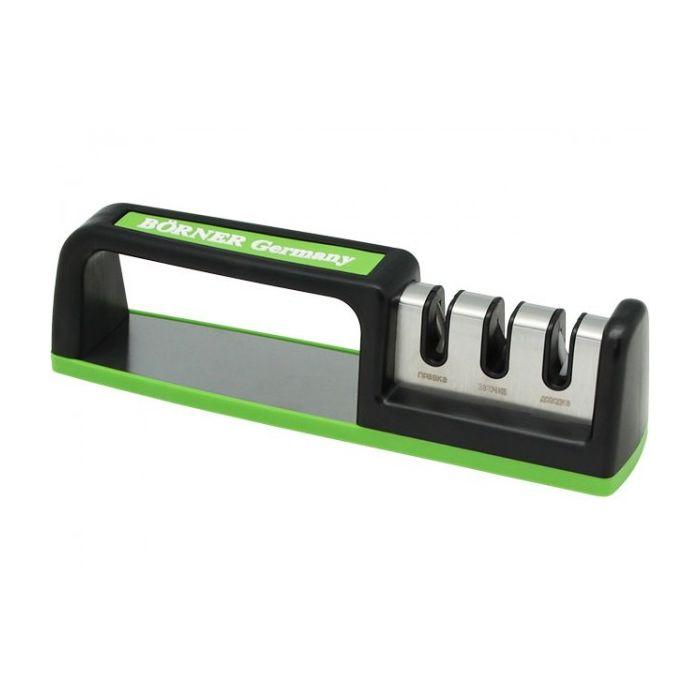 Точилка для ножей трёхзонная настольная салатовааяНожеточка настольного типа оснащена тремя зонами, которые различаются по степени заточки. Может использоваться для любых видов ножей из металла. Значение угла заточки – 23 градуса. Устройство помогает поддерживать состояние ножей в идеальном виде на постоянной основе. Модель удобна, безопасна и эргономична. В процессе работы не скользит по поверхности. Рекомендуется аккуратно вставить лезвие в отсек с пластинами и потянуть нож по направлению на себя. При сильно затупленном лезвии следует сделать по несколько движений во всех зонах. Ножеточку нельзя подвергать очистке в посудомоечной машине, поскольку это повредит пластины.<br>