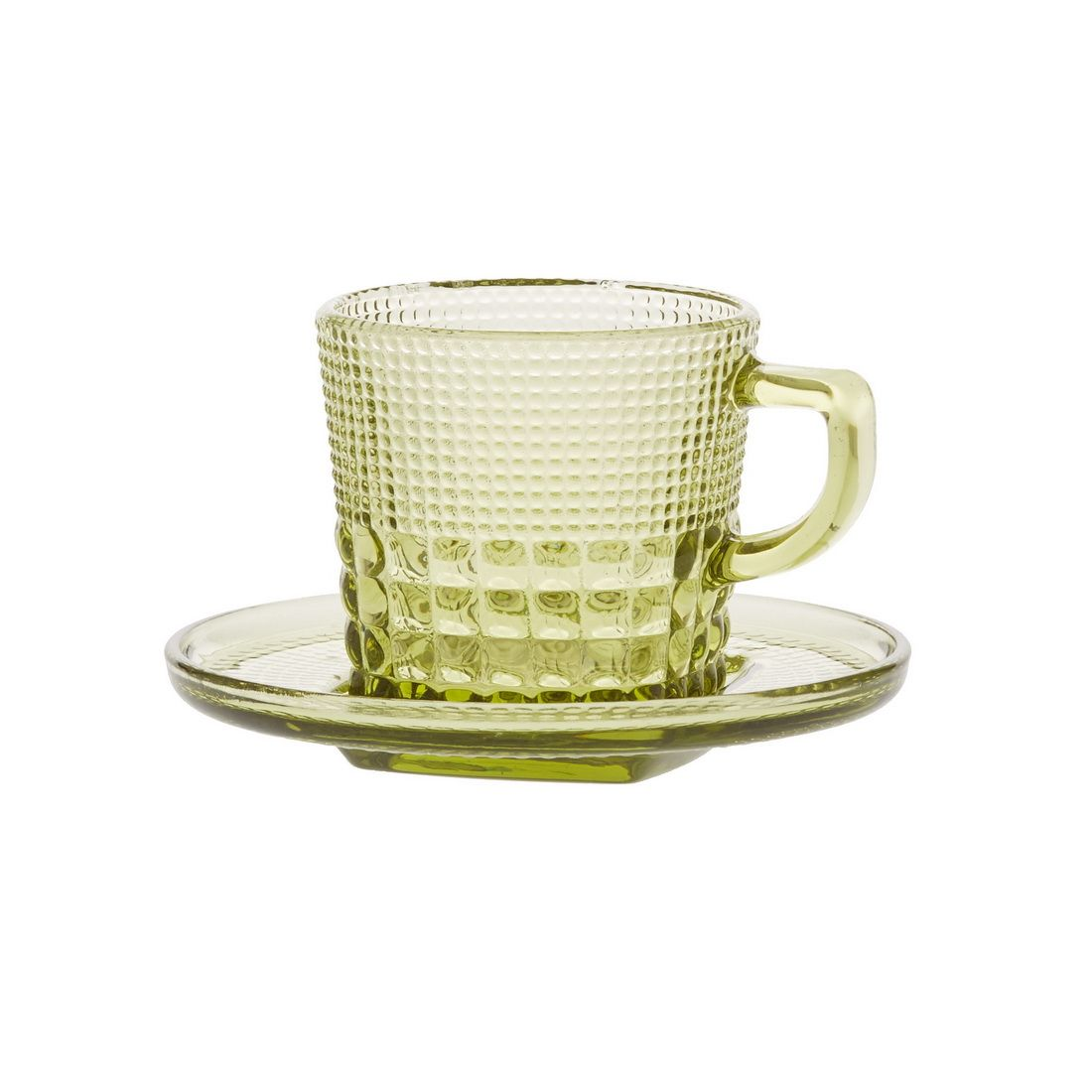Чашка с блюдцем кофейная Royal drops, оливковыйКофейная чашка Royal drops – яркий пример функциональности и изящества. Модель выполнена из прочного толстого стекла, которое с одной стороны гарантирует ее долговечность, а с другой способно долго поддерживать температуру напитка на одном уровне. Широкая ручка изделия удобно ложится в ладонь и всегда остается прохладной.Рельефна текстура чашки не даст ей выскользнуть из рук во время мытья. Идущее в комплекте блюдце с углублением в центре обеспечит кружке устойчивость и поможет сохранить стол чистым.<br>