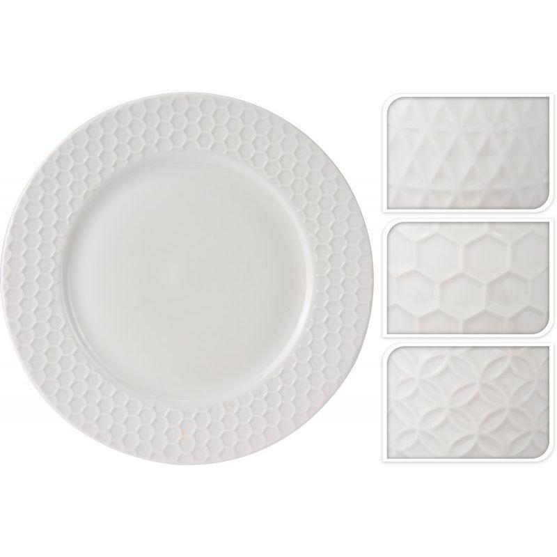 Тарелка Рельеф d 26,7 см в ассортиментеОбеденная тарелка «Рельеф» имеет круглую плоскую форму большого диаметра. Может использоваться по своему прямому назначению для подачи основных горячих мясных/рыбных блюд, а также в качестве подстановочной тарелки или блюда для закусок. Имеет нейтральный белый цвет с рельефной окантовкой в нескольких вариантах. Тарелка изготовлена из качественных материалов с высокой степенью прочности, которые противостоят возникновению царапин от ножей и вилок. Изделие можно использовать в качестве подарка на праздник. Она впишется в интерьер любой современной кухни и прекрасно дополнит уже имеющуюся посуду.<br>