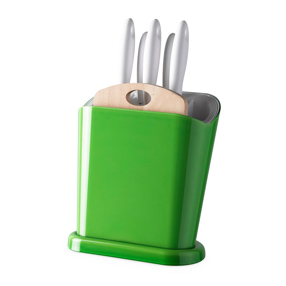 """Купить со скидкой Набор ножей с подставкой Omada """"Trendy"""", 6 предметов, зелёный (подставка 1 шт, ножи 5 шт)"""