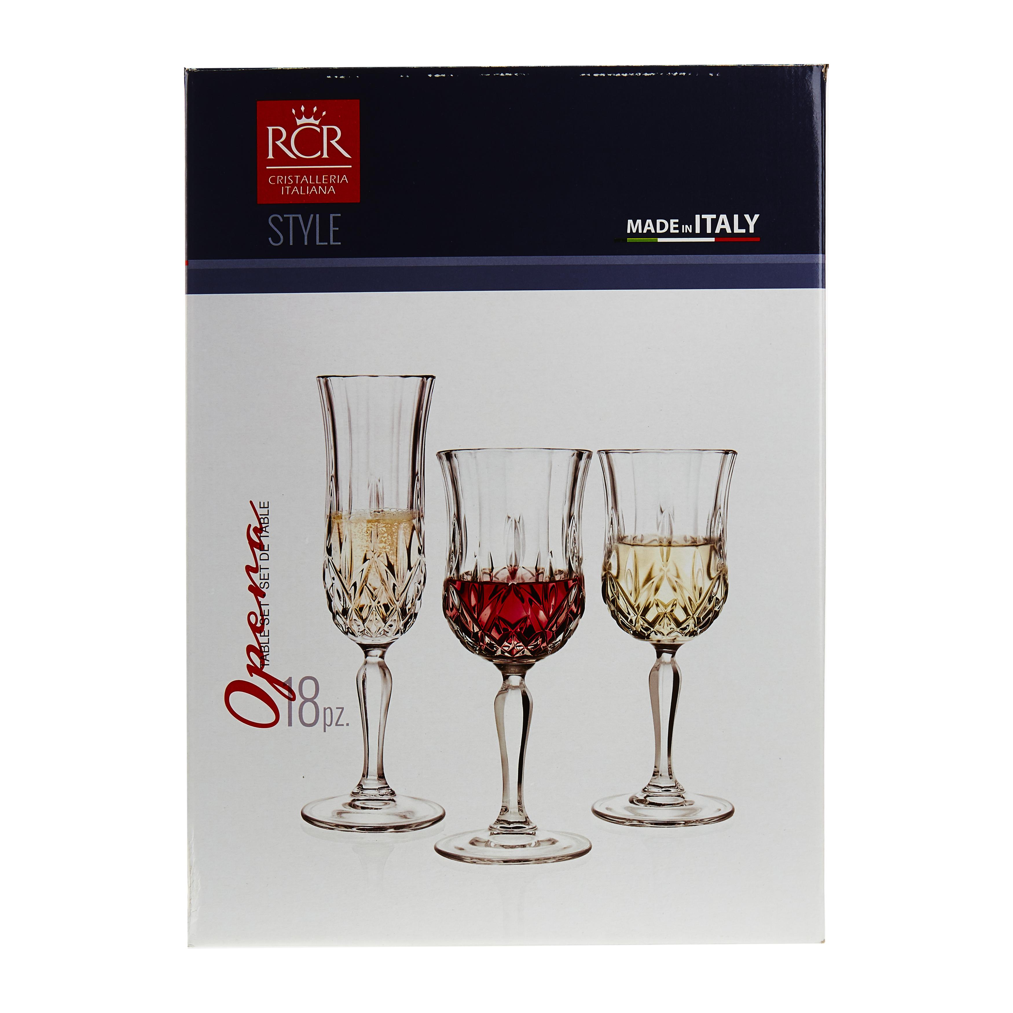 Набор 18 предм OPERA (шамп 6 шт кр вино 230 мл 6 шт бел вино 160 мл 6 шт)Набор Опера состоит из 18 предметов и содержит комплект бокалов для сервировки благородных алкогольных напитков для вашего праздничного стола. В наборе представлены специальные бокалы для шампанского, а также отдельно для красного и для белого вина. Такой набор, изготовленный в едином стиле и дизайне, станет настоящей находкой для гостеприимной хозяйки и непременно удивит ваших гостей своей изысканностью. Изделия выполнены из прочного и современного стекла, при производстве которого не применяется свинец. Набор Опера идеален и для дома, и для оснащения кафе, баров и ресторанов.<br>