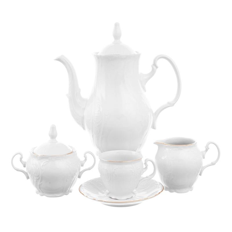 Кофейный сервиз 6 персон Bernadotte белый узор 17 предметов